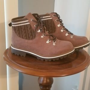 Torrid Brown Sweater Suede Boots